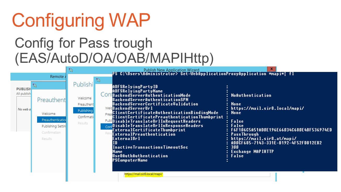 Configuring WAP Config for Pass trough (EAS/AutoD/OA/OAB/MAPIHttp)