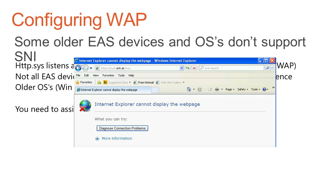 Configuring WAP Some older EAS devices and OS's don't support SNI