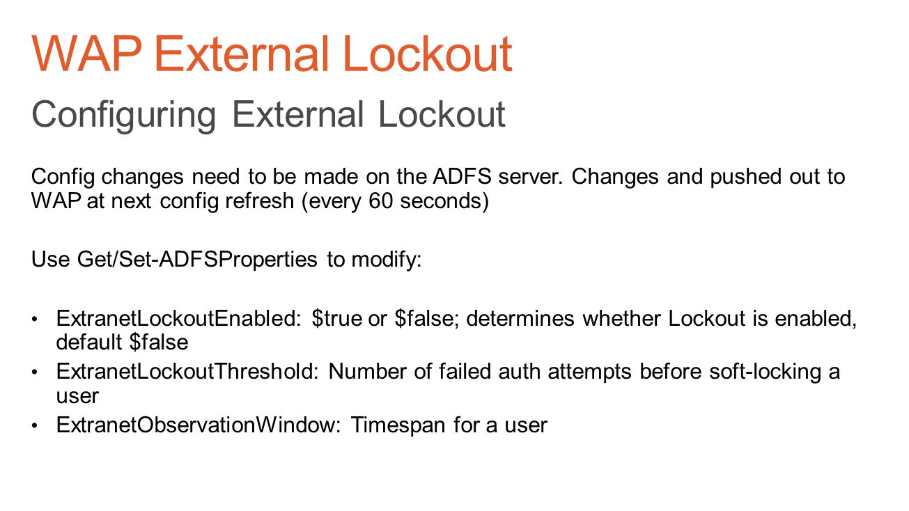 WAP External Lockout Configuring External Lockout