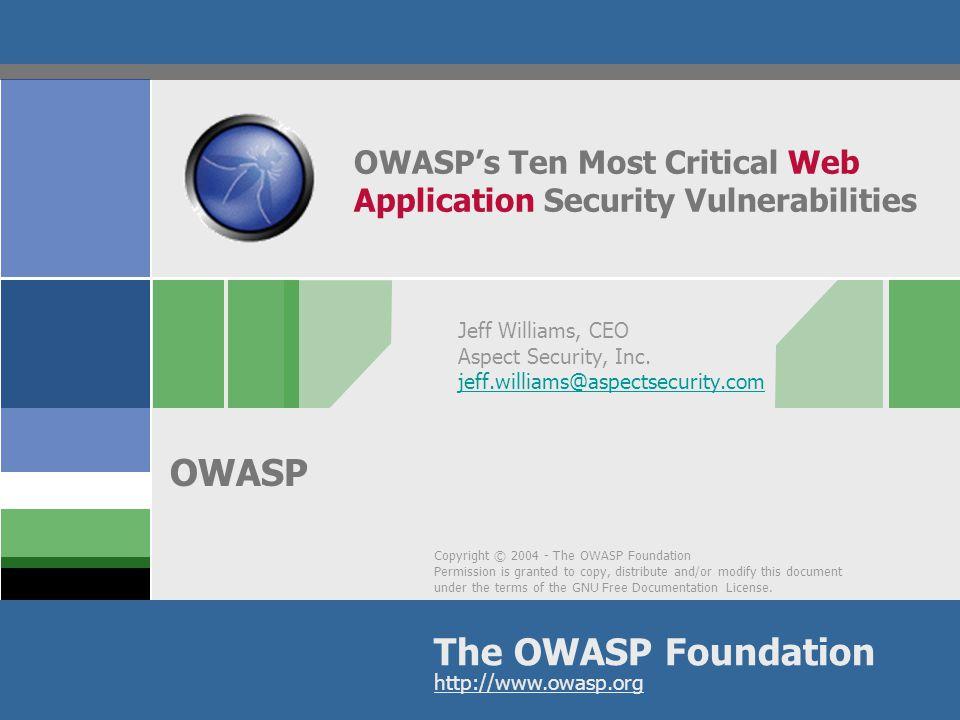 OWASP's Ten Most Critical Web Application Security Vulnerabilities