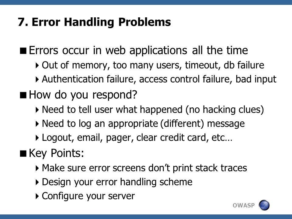 7. Error Handling Problems
