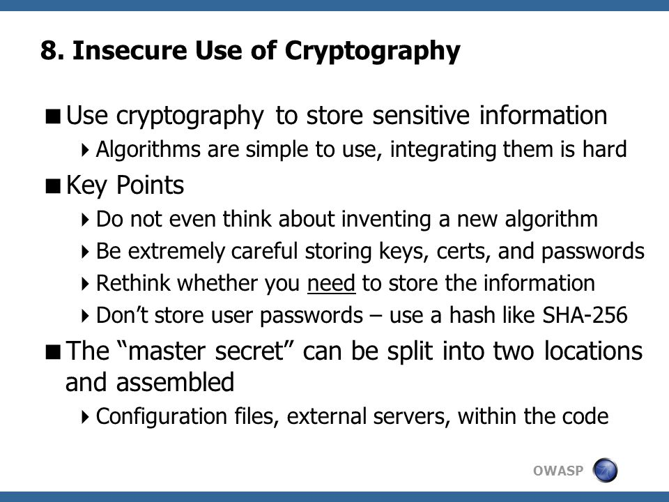 8. Insecure Use of Cryptography