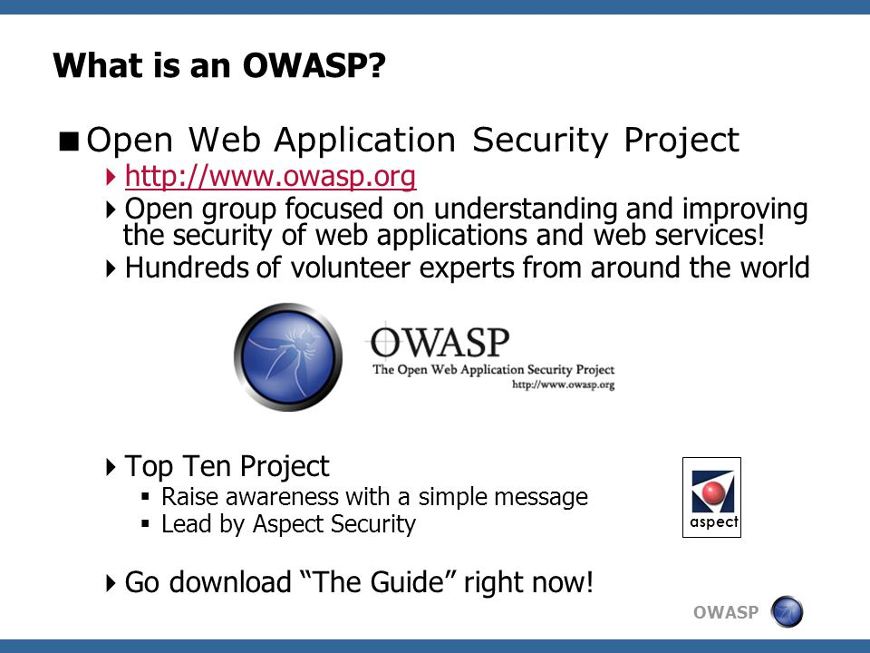 open web application security project Owasp stands for open web applications security project these are specific points that vulnerability detection services like defencely use to help pinpoint areas.
