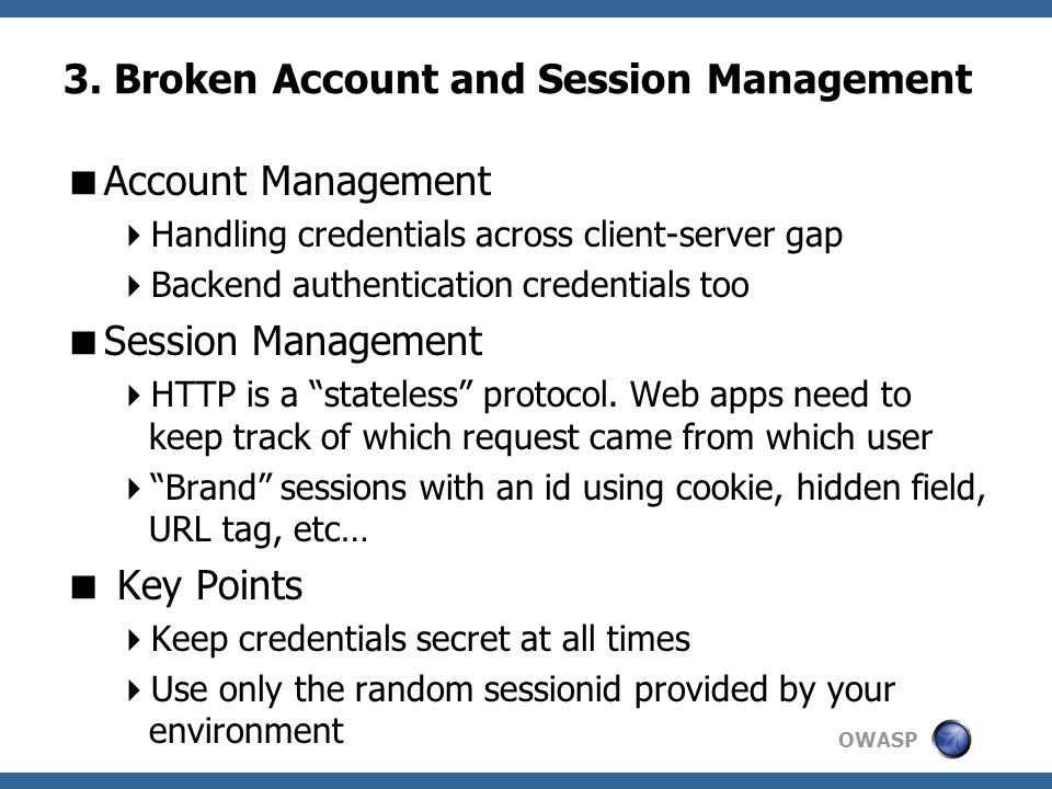 3. Broken Account and Session Management