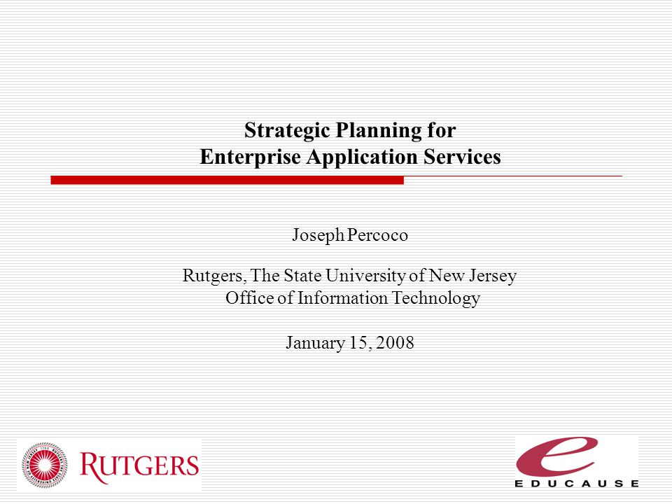 Strategic Planning for Enterprise Application Services
