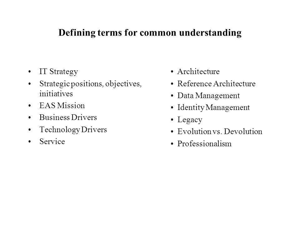 Defining terms for common understanding