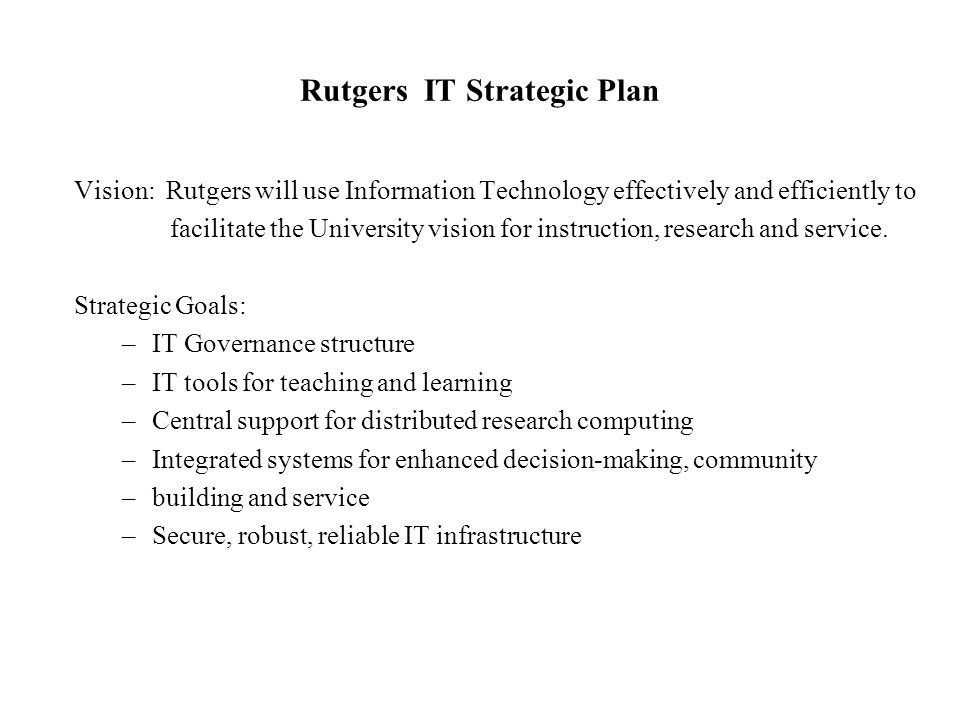 Rutgers IT Strategic Plan