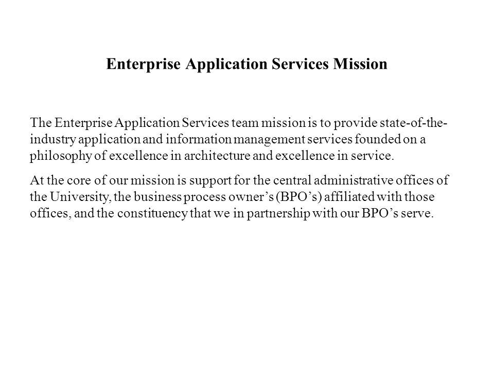 Enterprise Application Services Mission