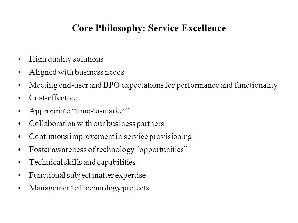 Core Philosophy: Service Excellence