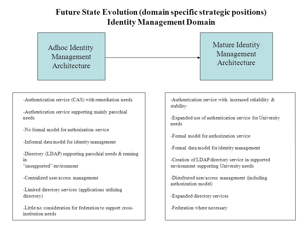 Future State Evolution (domain specific strategic positions)