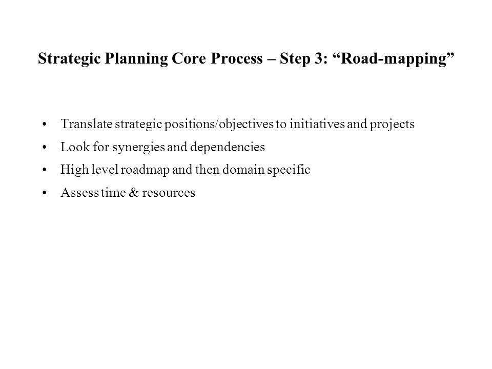 Strategic Planning Core Process – Step 3: Road-mapping
