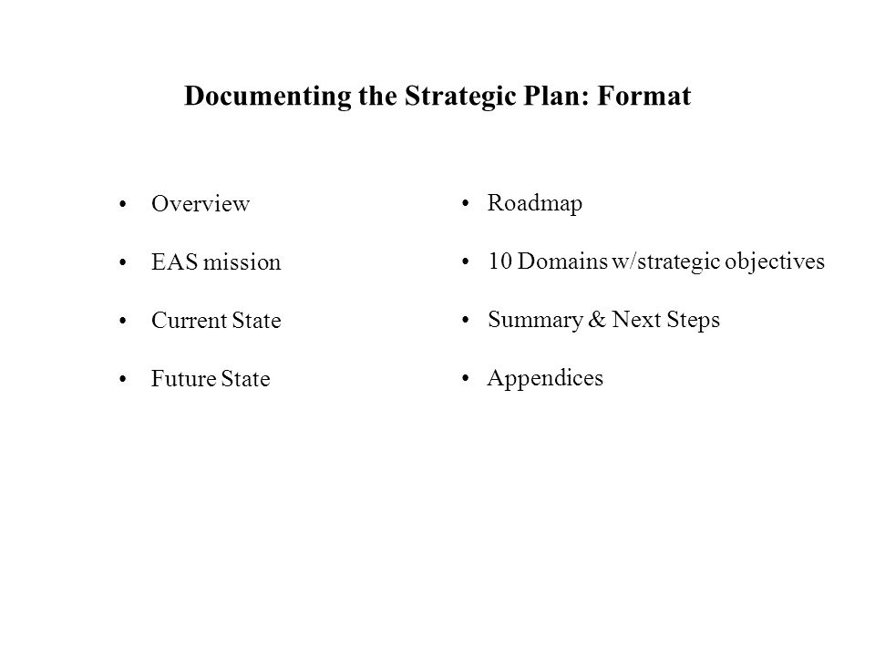 Documenting the Strategic Plan: Format