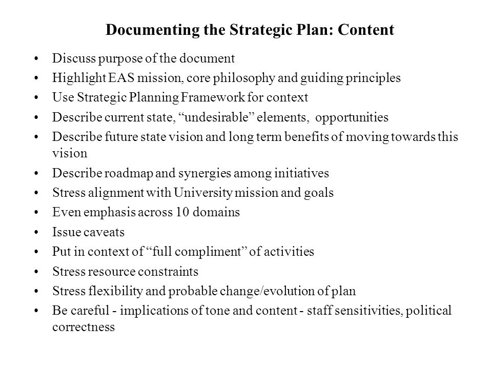 Documenting the Strategic Plan: Content