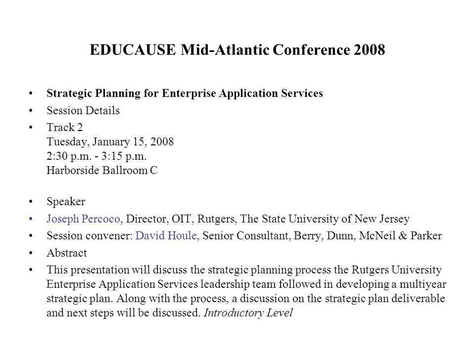 EDUCAUSE Mid-Atlantic Conference 2008