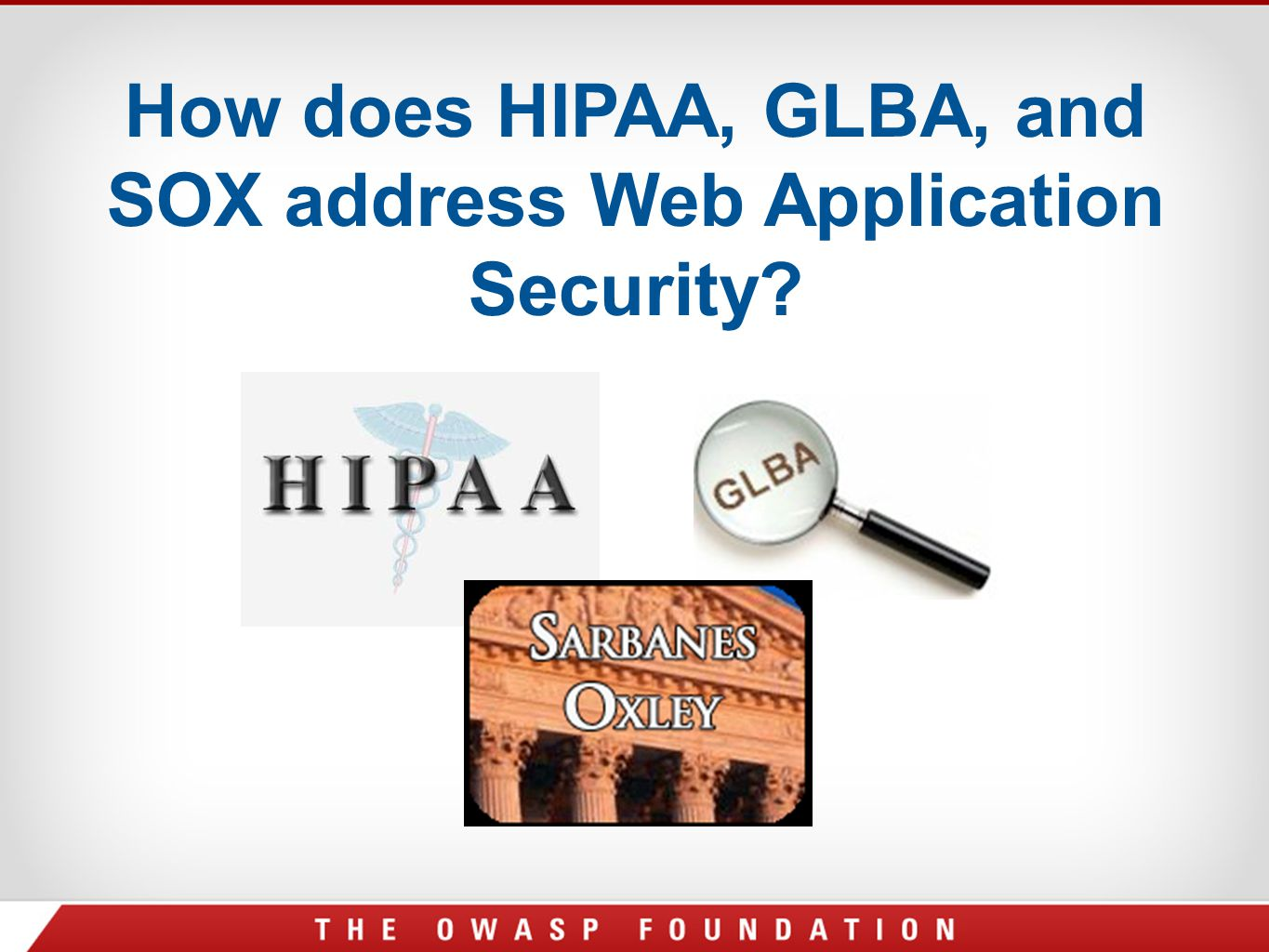 How does HIPAA, GLBA, and SOX address Web Application Security