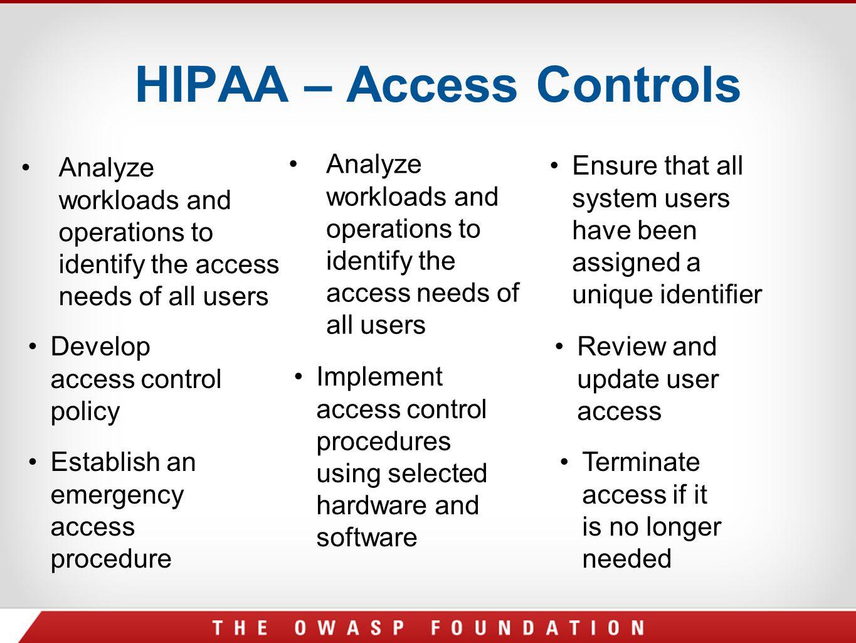 HIPAA – Access Controls