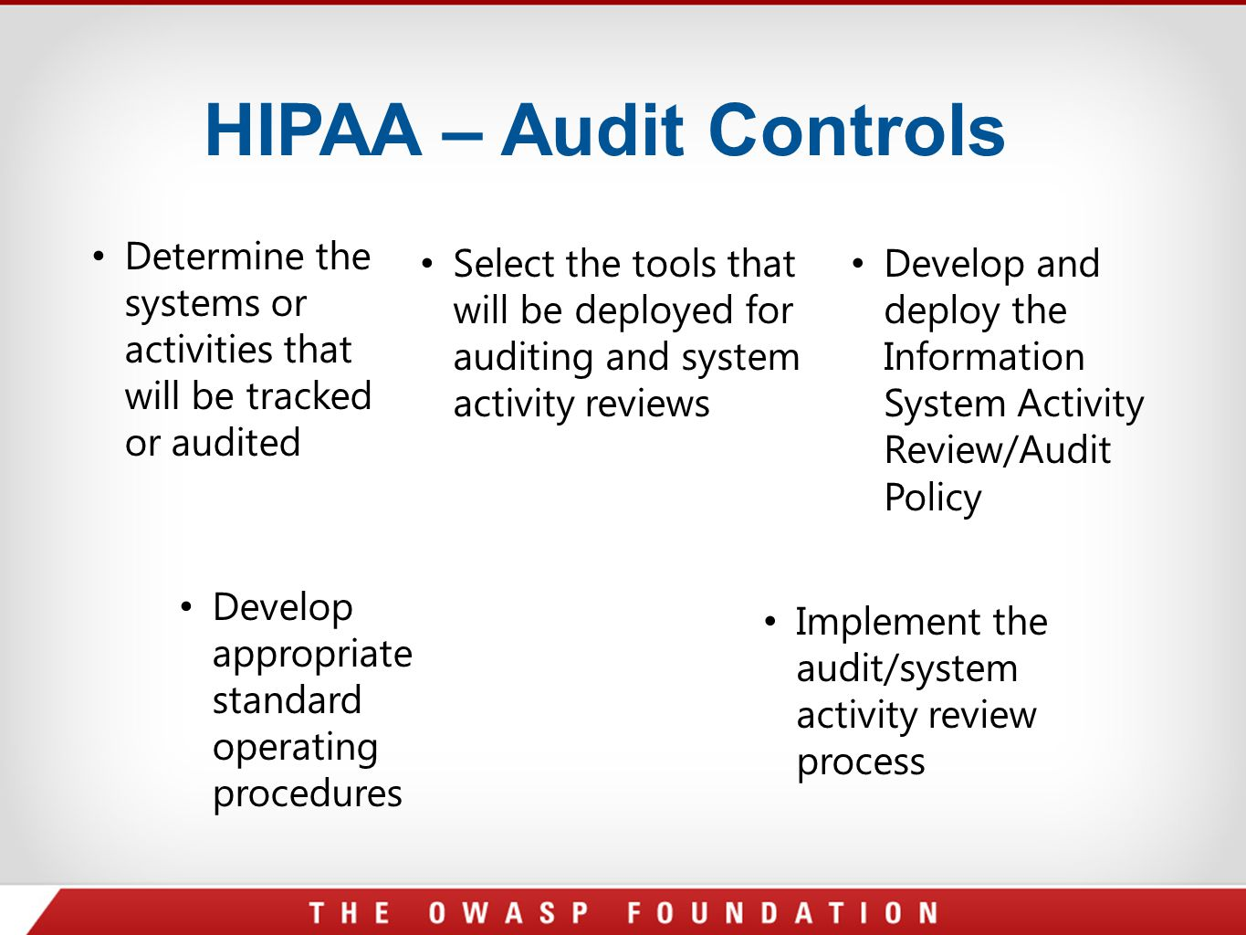 HIPAA – Audit Controls Determine the systems or activities that will be tracked or audited.