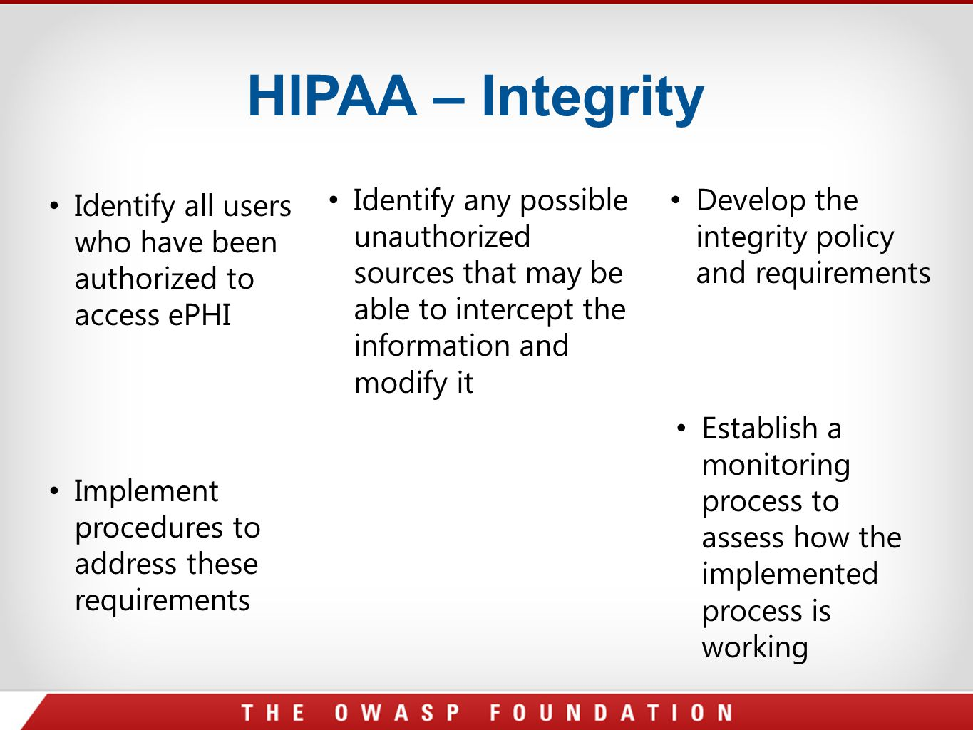 HIPAA – Integrity Identify any possible unauthorized sources that may be able to intercept the information and modify it.