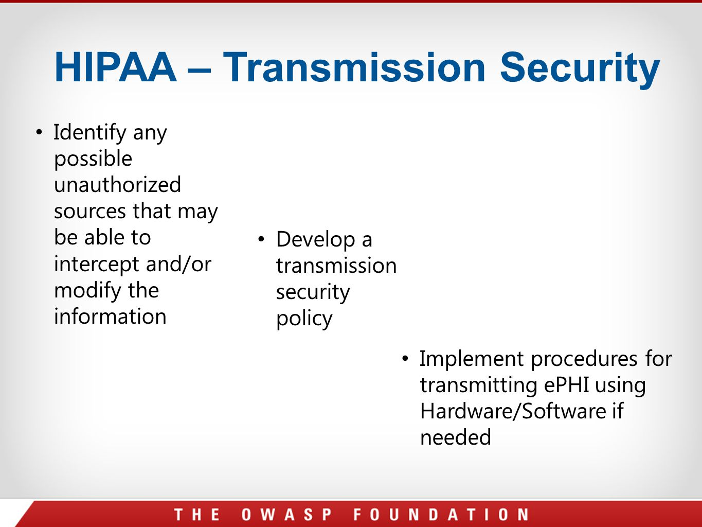 HIPAA – Transmission Security