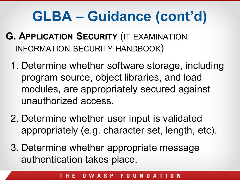 GLBA – Guidance (cont'd)