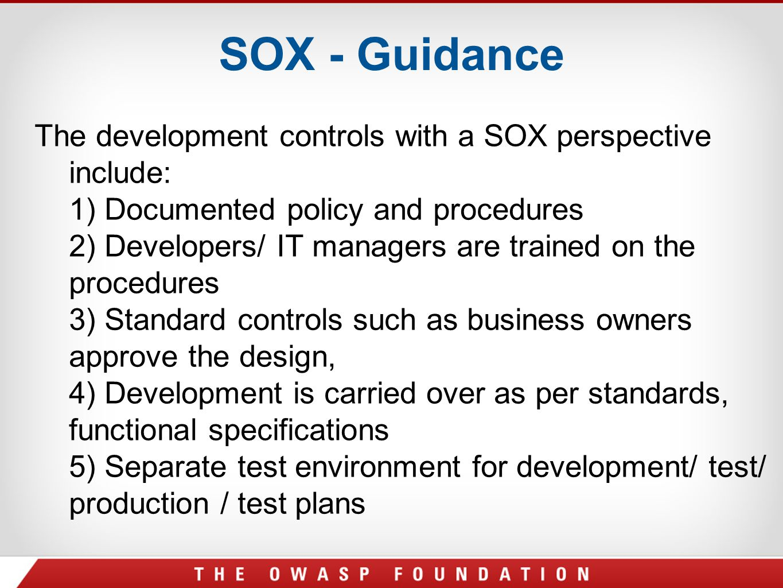 SOX - Guidance