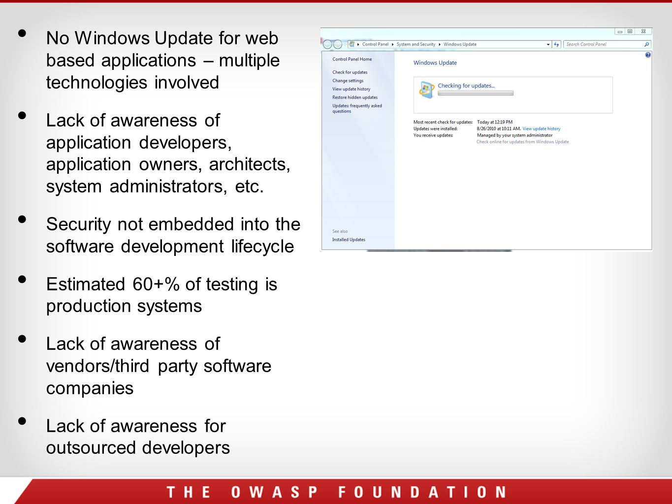 No Windows Update for web based applications – multiple technologies involved