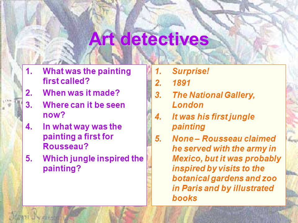 Art detectives What was the painting first called When was it made