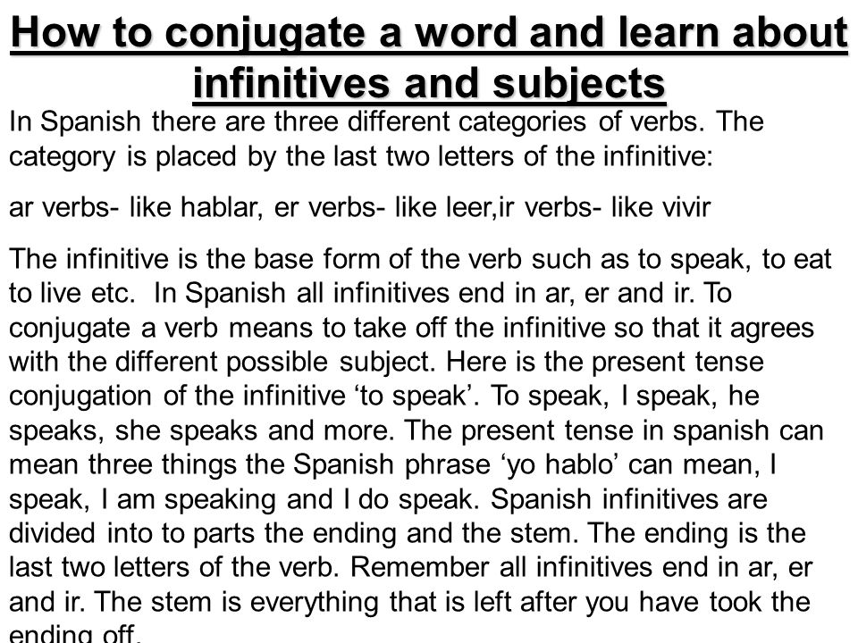 How to conjugate a word and learn about infinitives and subjects