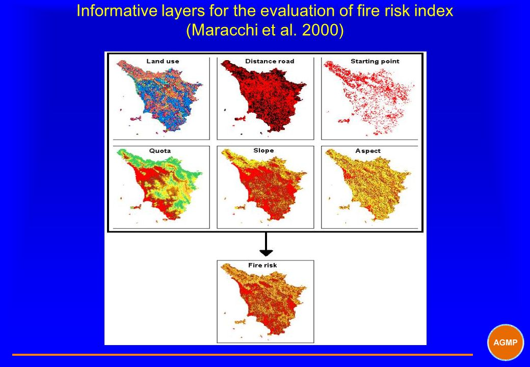 Informative layers for the evaluation of fire risk index (Maracchi et al. 2000)