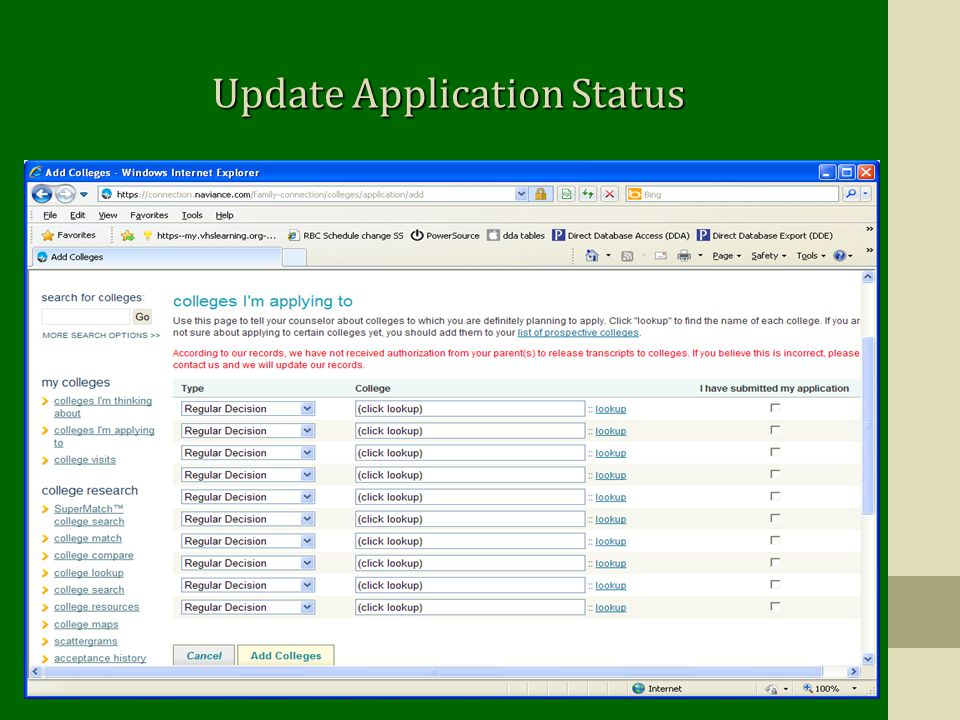 Update Application Status