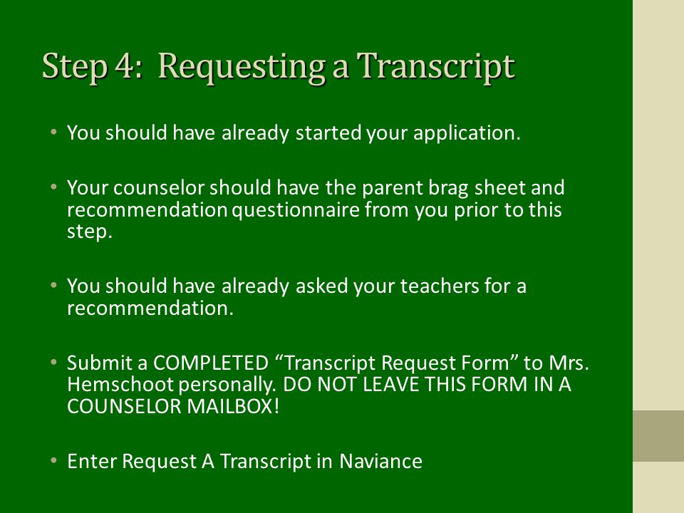 Step 4: Requesting a Transcript