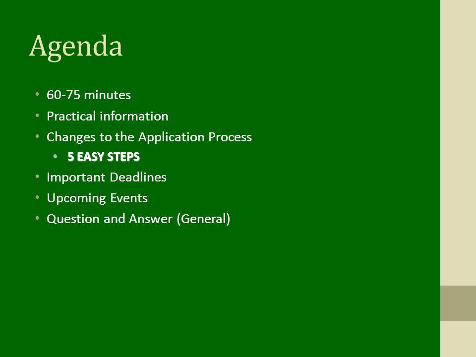 Agenda 60-75 minutes Practical information