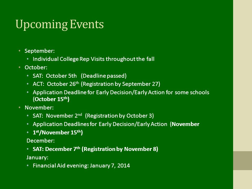 Upcoming Events September: