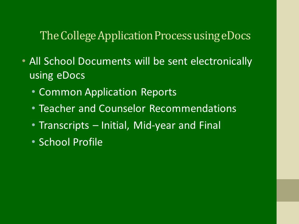 The College Application Process using eDocs