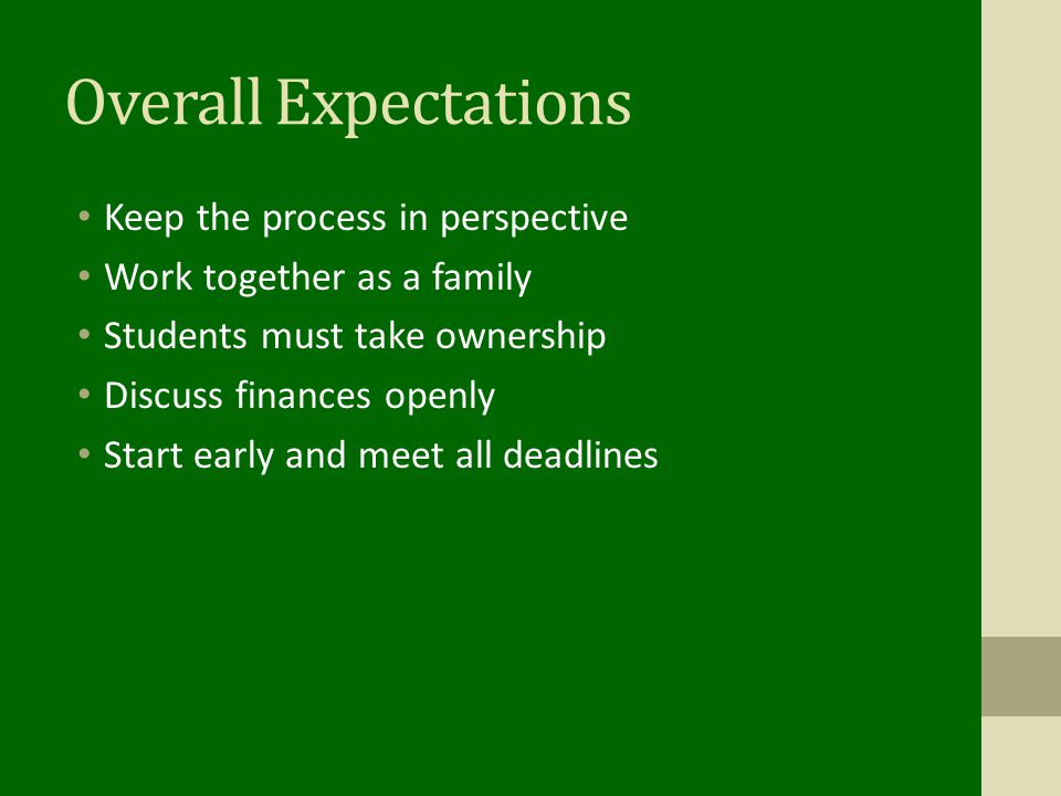 Overall Expectations Keep the process in perspective