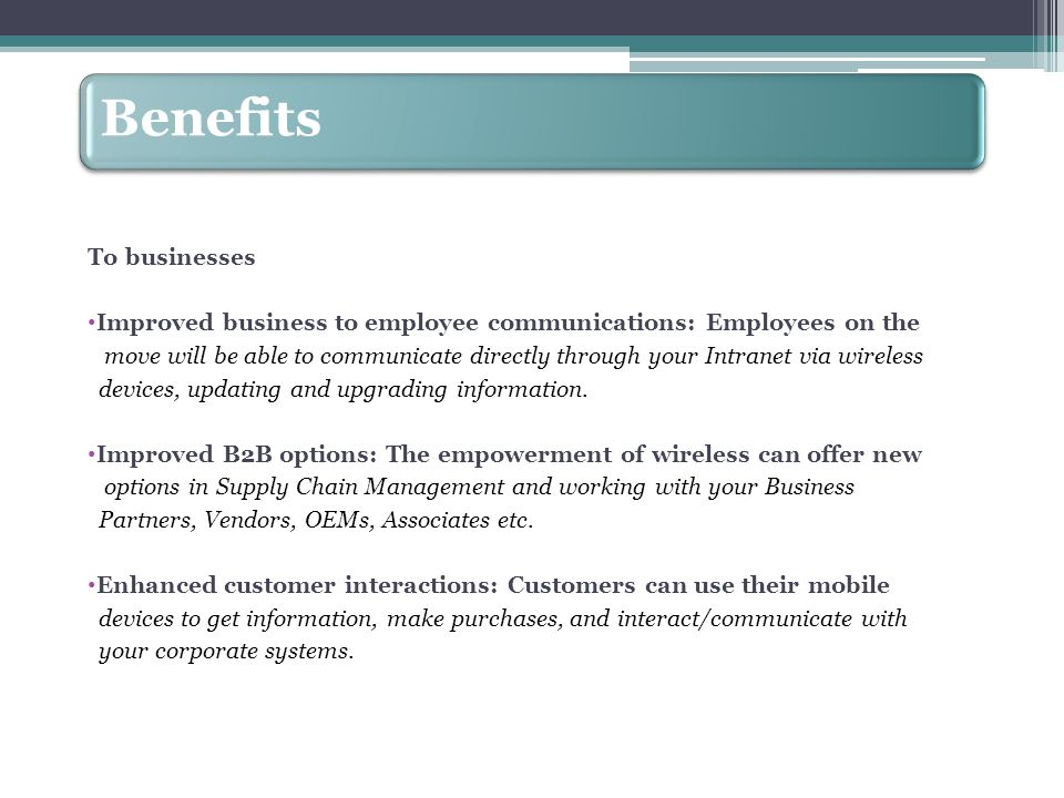 Improved business to employee communications: Employees on the