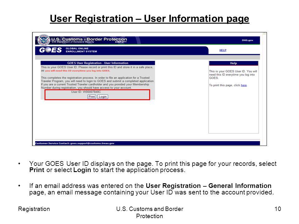 User Registration – User Information page