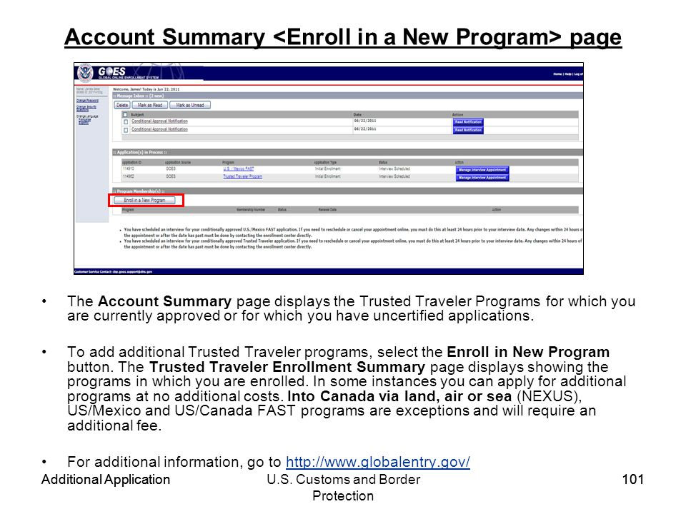 Account Summary <Enroll in a New Program> page