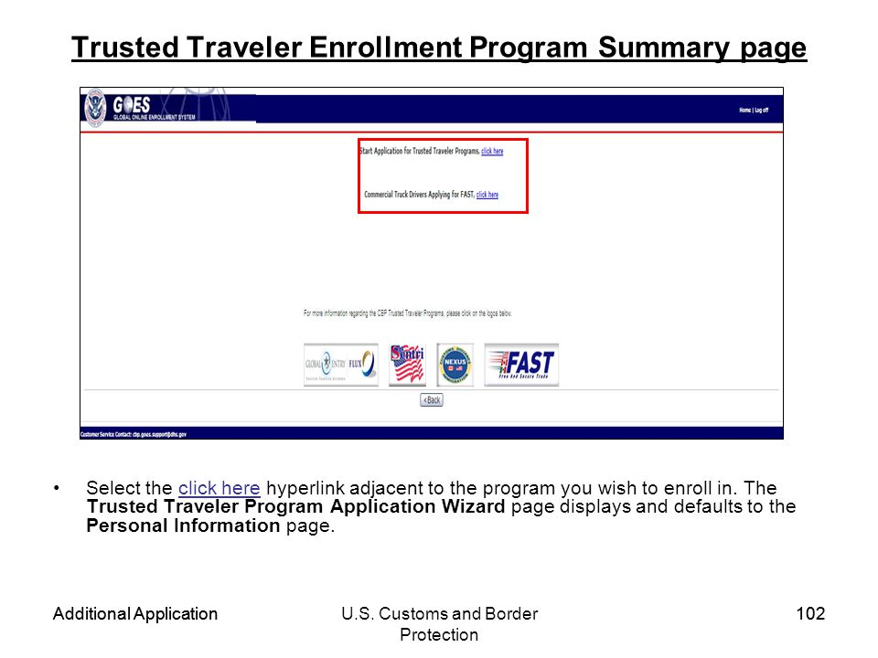 Trusted Traveler Enrollment Program Summary page