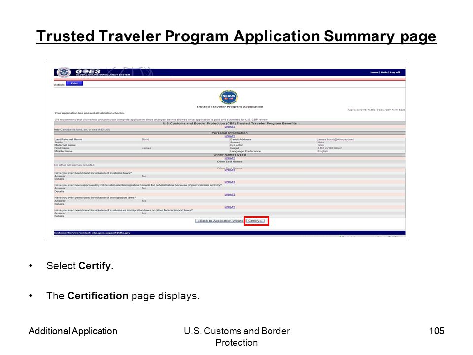 Trusted Traveler Program Application Summary page