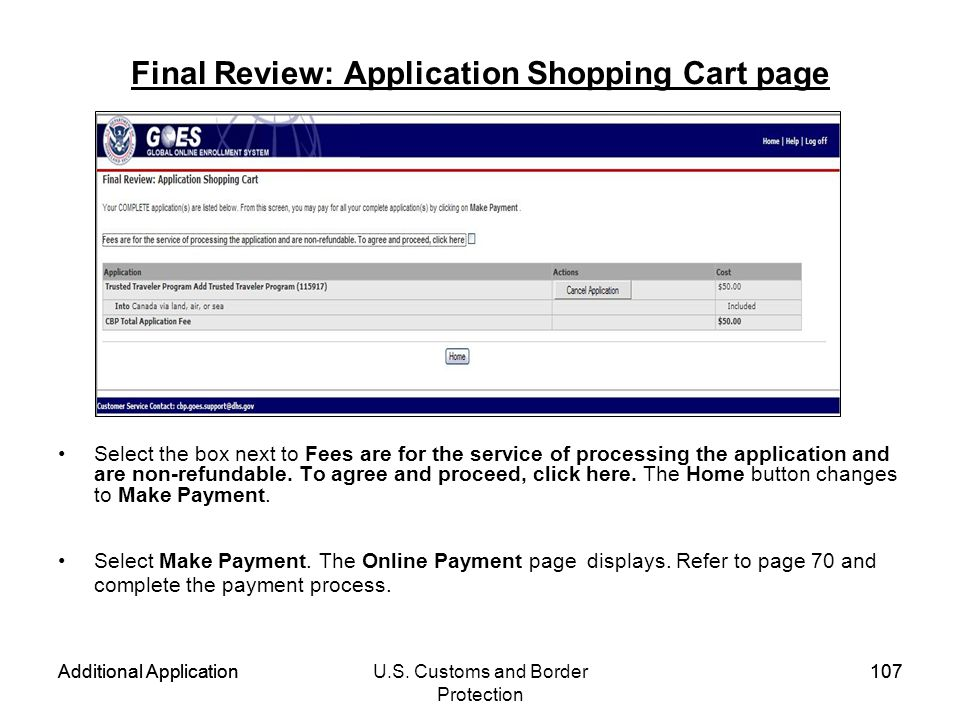 Final Review: Application Shopping Cart page