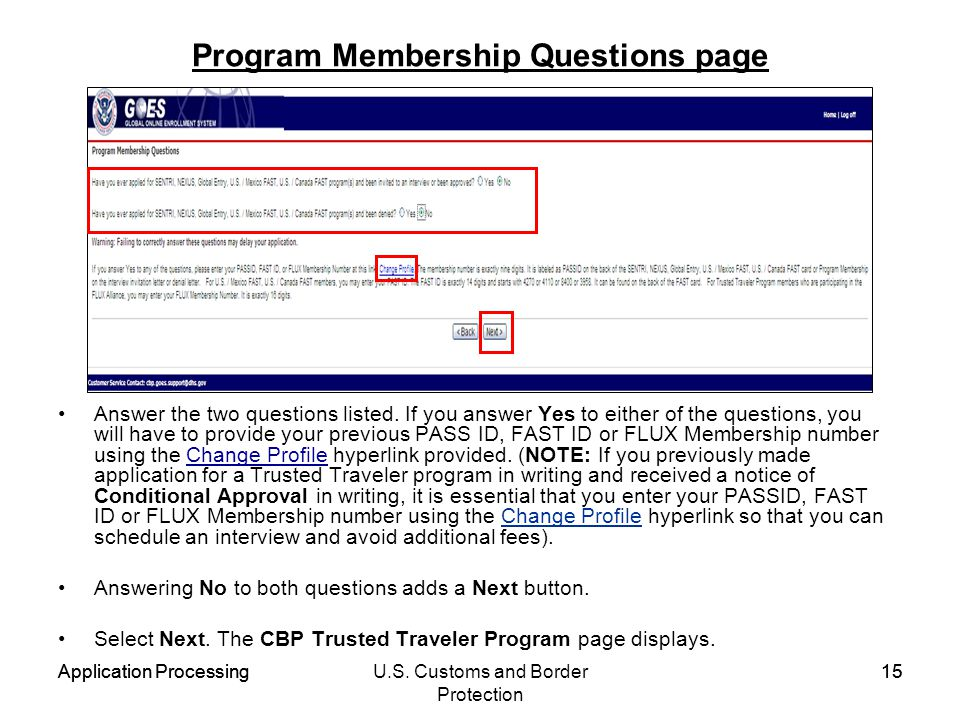 Program Membership Questions page