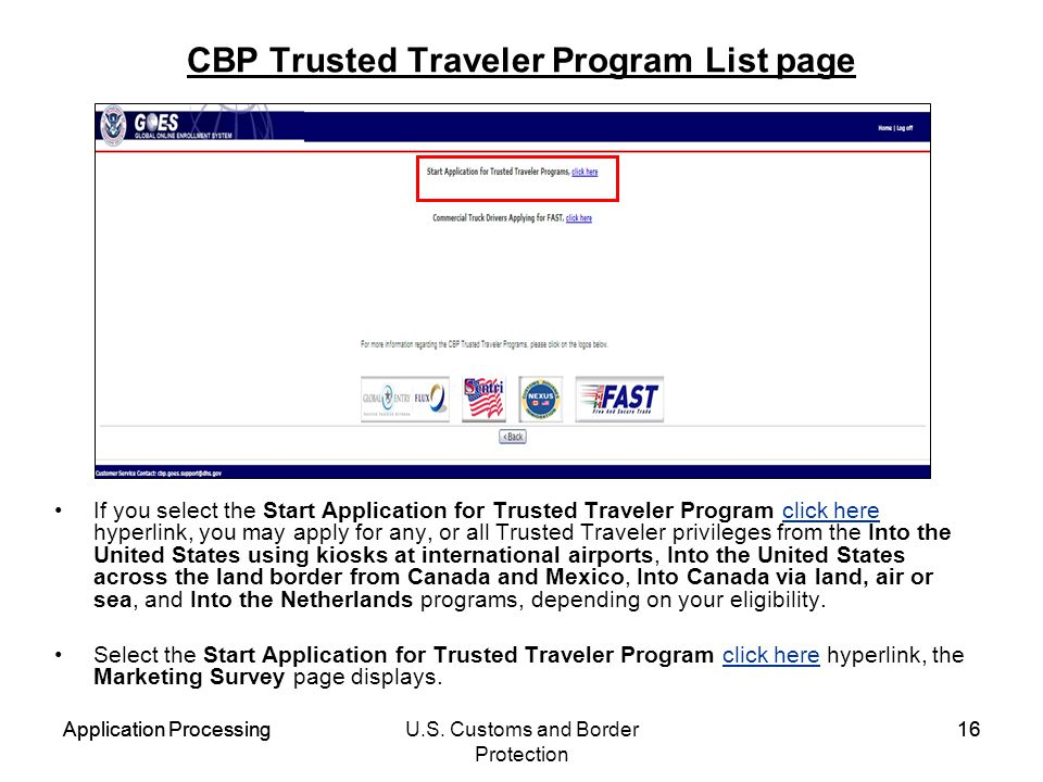 CBP Trusted Traveler Program List page