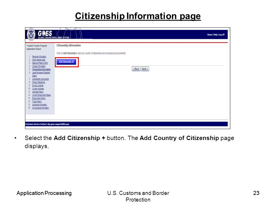 Citizenship Information page