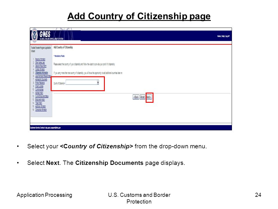 Add Country of Citizenship page