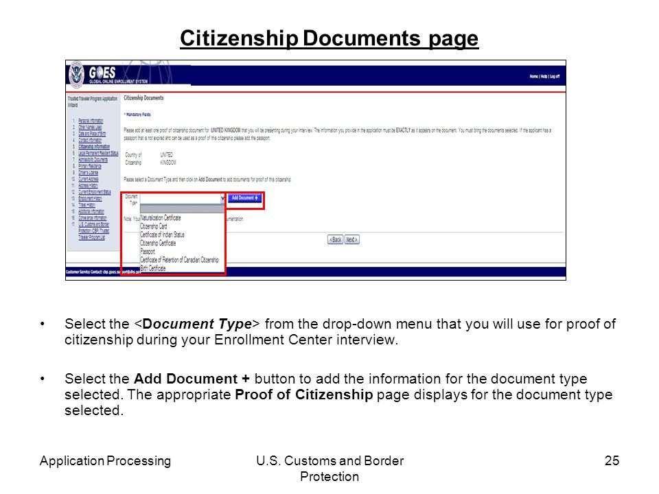 Citizenship Documents page
