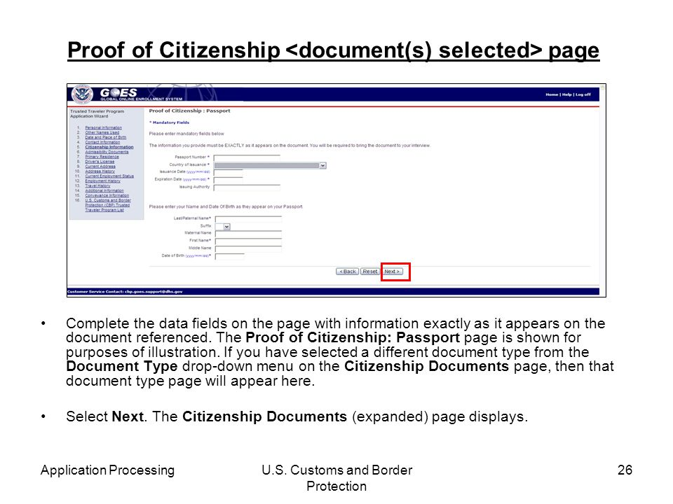 Proof of Citizenship <document(s) selected> page