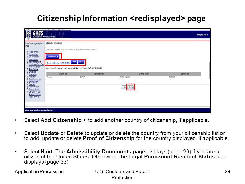 Citizenship Information <redisplayed> page