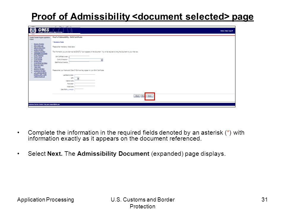 Proof of Admissibility <document selected> page