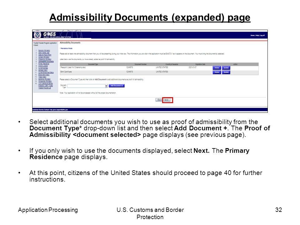 Admissibility Documents (expanded) page